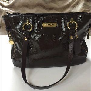 Coach brown patent leather handbag/satchel